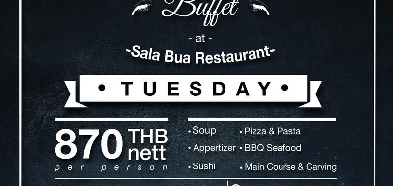BBQ Seafood Buffet @ Sala Bua Restaurant Every Tuesday