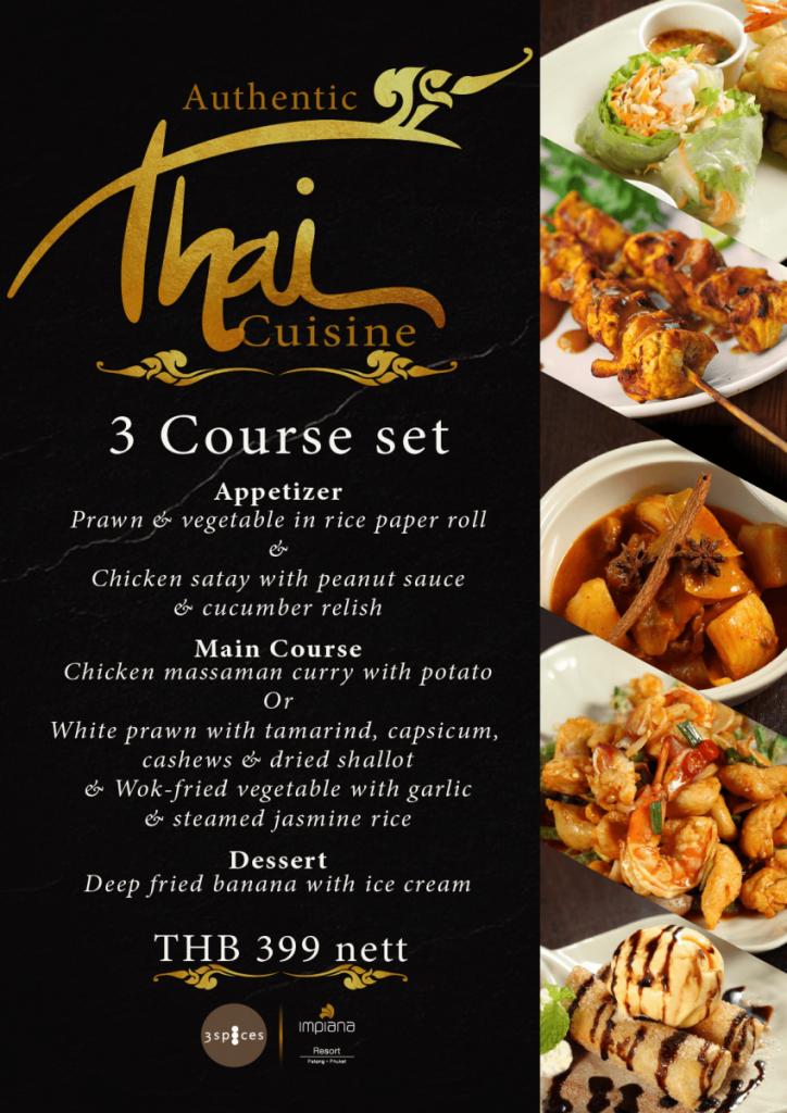 Thai Cuisine 3 Course Set at 3 Spices
