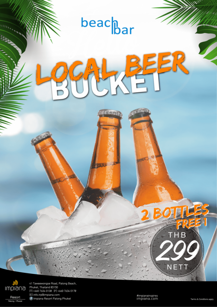 Local Beer Bucket at Beach Bar
