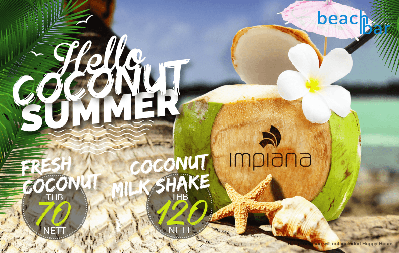 Hello Coco Summer with fresh coconut at the beach bar