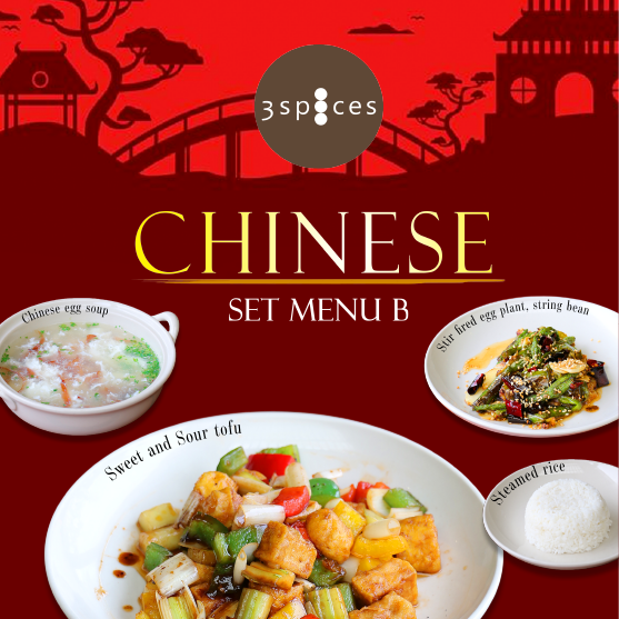 Chinese set menu at 3 spices restaurant