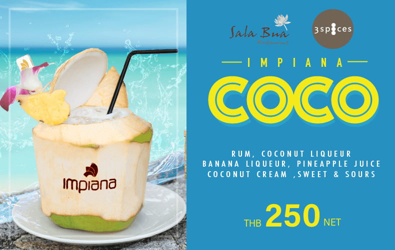 Impiana COCO cocktail special at 3 spices restaurant